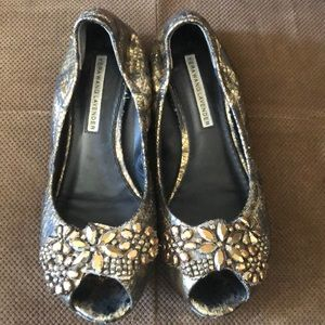 Vera Wang Lavender Leather jeweled ballet flats